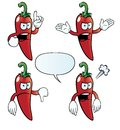 Collection of angry chili peppers with various gestures Royalty Free Stock Photos