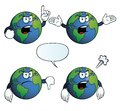 Collection angry earth globes various gestures Stock Images