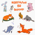 The collection of animals cartoo cartoon for your design books postcards website business cards greetings greeting cards alphabet Stock Photos