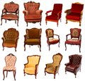 Collection of antique chairs different style isolated on white background Royalty Free Stock Images