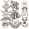 Collection of antique hand drawn labels for design Royalty Free Stock Photo