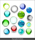 Collection of aqua glass icons Royalty Free Stock Photo
