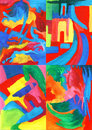 Collection of art abstract paintings four rainbow painted backgrounds Stock Photo
