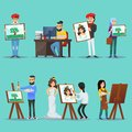 Collection of artists with their paintings