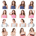 Collection of attractive asian woman face Royalty Free Stock Image