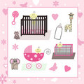 Collection of Baby Girl & Animal Vectors Stock Images