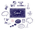 Collection back to school of illustrations and education Royalty Free Stock Images