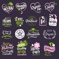 Collection of badges and stickers for natural cosmetics and beauty products