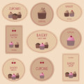 Collection of bakery badges labels and icons set cards for design сollection decorative sweet cupcakes Stock Photo