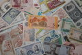 Collection of banknotes of different countries Royalty Free Stock Photo