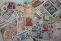 Collection of banknotes of different countries international currencies a various currencies from spanning the globe a various Royalty Free Stock Photo