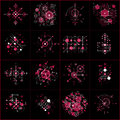 Collection of Bauhaus retro red wallpapers, art vector backgroun Royalty Free Stock Photo
