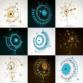 Collection of Bauhaus wallpapers, art dimensional vector backgro Royalty Free Stock Photo