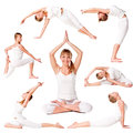 Collection of a beautiful girl practicing yoga Royalty Free Stock Images