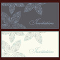 Collection beautiful invitation vintage cards floral elements Royalty Free Stock Photo