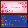 Collection beautiful invitation vintage cards floral elements Royalty Free Stock Images