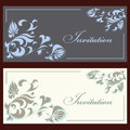 Collection of beautiful invitation vintage cards with floral elements Royalty Free Stock Photos