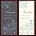 Collection of beautiful invitation vintage cards with floral elements Stock Photography