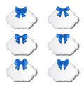 Collection beautiful labels with blue gift bows illustration Stock Images
