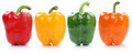 Collection of bell pepper peppers paprika paprikas in a row side Royalty Free Stock Photo