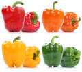 Collection of bell pepper peppers paprika paprikas  on w Royalty Free Stock Photo