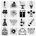 Collection of birthday celebration and party icons set isolated on grey background eps file available Stock Photography