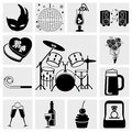 Collection of birthday celebration and party icons set isolated on grey background eps file available Stock Images