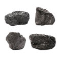 Collection black coal isolated on white Royalty Free Stock Photo