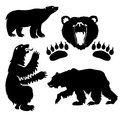 Collection of black silhouette of a bear heraldry Royalty Free Stock Images