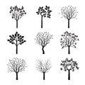 Collection of Black Trees. Royalty Free Stock Photo