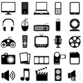 Collection black white media multimedia icons isolated white background Stock Photography