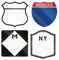 Collection of blank highway route shields used in the US Royalty Free Stock Photo