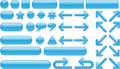 Collection of blue glossy elements(buttons) Royalty Free Stock Photo