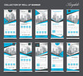 Collection Blue Roll Up Banner Design stand template, flyers