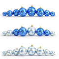 Collection of blue and silver christmas balls. White isolated. 3D render Royalty Free Stock Photo