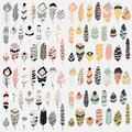 Collection of boho vintage tribal ethnic hand drawn colorful feathers Royalty Free Stock Photo