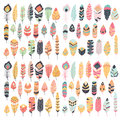 Collection of boho vintage tribal ethnic hand drawn feathers Royalty Free Stock Photo