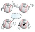 Collection bored baseballs various gestures Royalty Free Stock Images