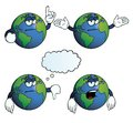 Collection bored earth globes various gestures Stock Photography