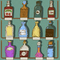 Collection of bottles vector illustration different with labels Royalty Free Stock Image