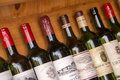 Collection of bottles of wines of Bordeaux Royalty Free Stock Photo
