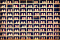 Collection of bowling shoes in their rack background Royalty Free Stock Photo