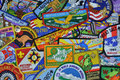 Collection of boy scout patches from various world and national jamborees order the arrow and other Royalty Free Stock Image
