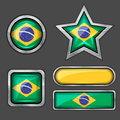 Collection of brazil flag icons Stock Photo