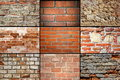 Collection of brick wall textures Royalty Free Stock Photo