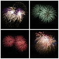 Collection of bright colorful firework burst explosions on black Royalty Free Stock Photo