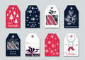 Collection of bright fashionable tags with Christmas illustrations. Isolated. Royalty Free Stock Photo