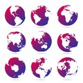 Collection of bright purple icons globes. Set maps of the world. Planet with continents