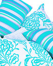 Collection of bright turquoise cushions Royalty Free Stock Images