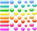 Collection of brightly colored, glossy web element Royalty Free Stock Image